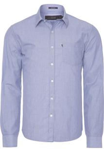 Camisa Masculina Striped Slim French - Azul