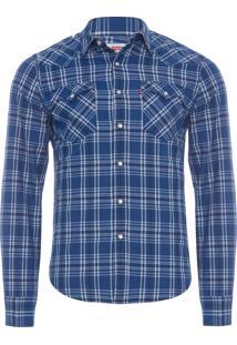 Camisa Masculina Classic Wetern - Azul