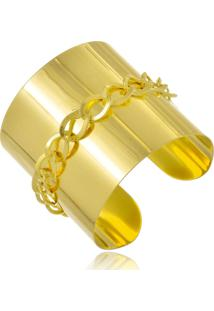 Bracelete Le Diamond Chapa Com Corrente Folheada