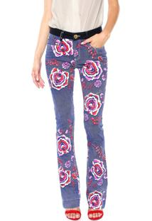 Calça Jeans Lança Perfume Bootcut Floral Azul