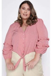 Blusa Almaria Plus Size Tal Qual 3/4 Cropped Visco