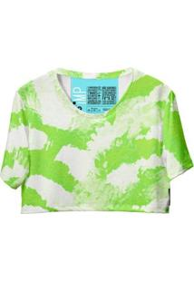 Blusa Cropped Feminina Tie Dye Manga Curta Fashion Moderna - Feminino-Branco+Verde