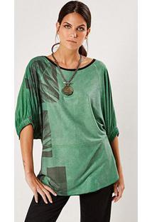 Blusa Sacada Recortes Feminina - Feminino-Verde Escuro