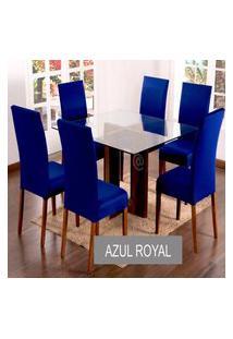 Kit Capa De Cadeira Lisa 2 Peças Azul Royal