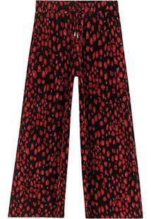 Calça Vermelha Pantacourt Animal Print