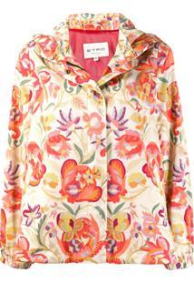 Etro Jaqueta Floral Com Capuz - Laranja