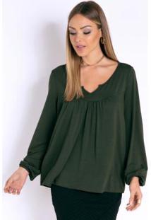 Blusa Verde Com Mangas Longa E Elástico No Punho