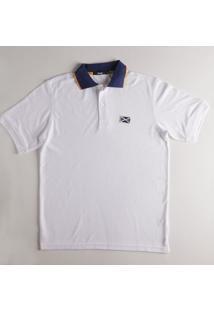 Camisa Polo Piquê Lisa Com Vivo Branco Gg