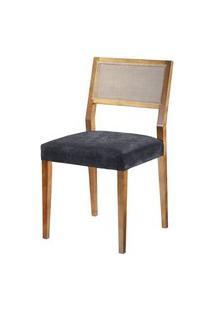 Cadeira Caiscais Encosto Em Tela Cor Nogal - 37383 Preto