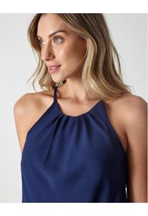 Blusa Tecido Preguinhas Basic P - Nude - Feminino-Azul Escuro