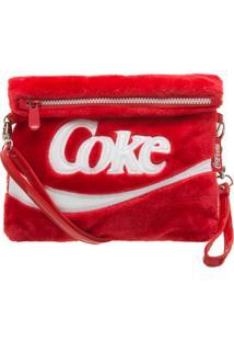 Bolsa Transversal Coca Cola Plush - Feminino-Vermelho