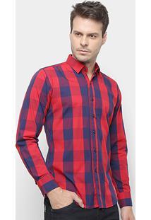 Camisa Xadrez Watkins&Krown Masculina - Masculino-Vermelho+Azul