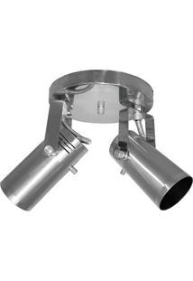Spot De Sobrepor Em Alumínio Para 2 Lâmpadas Lixado