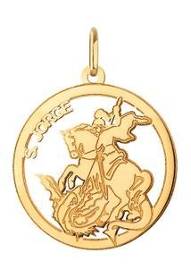 Pingente Circular São Jorge Em Ouro 18K - Unissex