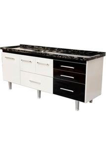 Gabinete De Cozinha New Life 197,4X55Cm Branco E Preto Bonatto