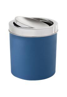Lixeira Com Tampa Basculante Inox 5,4 Litros - Decorline Lixeiras Ø 18,5 X 23 Cm Azul Brinox