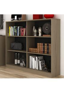 Estante Para Livros 2 Prateleiras Com Nichos Ho-2922 Avelã/Onix - Hecol
