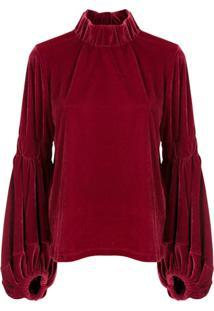 Framed Blusa Vermont Em Veludo - Vermelho