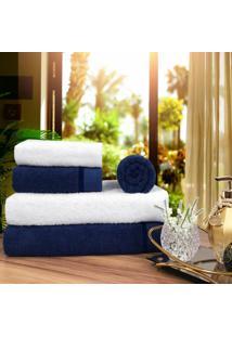 Toalha De Banho 100% Algodã£O Penteado Jogo Com 2 Banhã£O 2 Rosto E 1 Piso Azul E Branca - Azul/Branco - Dafiti