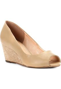 2ba9f90887 ... Peep Toe Couro Shoestock Anabela Ráfia - Feminino-Bege