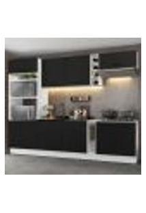 Cozinha Completa Madesa Agata 290001 Com Armário E Balcão (Sem Tampo E Pia) - Branco/Preto