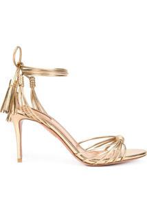 Aquazzura Sandália Com Salto - Dourado