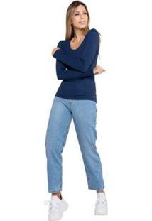 Calça Jeans Latifundio Modelagem Mom Feminina - Feminino-Azul