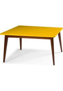 Mesa De Madeira Retangular 120X90 Cm Novita 609-1 Cacau/Amarelo - Maxima