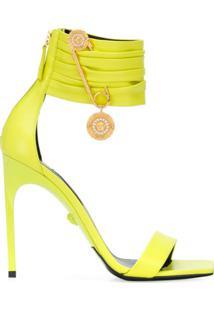 Versace Sandália Bico Quadrado Com Detalhe De Alfinete - Amarelo