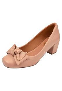 Scarpin Uzze Sapatos Salto Bloco Nude