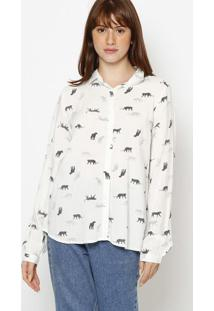 Camisa Animais Com Botãµes- Branca & Pretahering