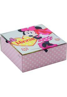 Porta Joias Minnie® Poá- Rosa Claro & Branco- 6X15X1Mabruk