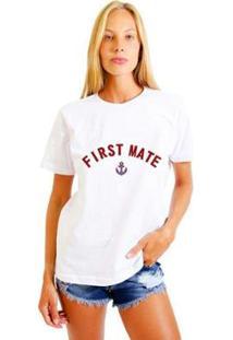 Camiseta Joss Estampada First Mate Feminina - Feminino-Branco
