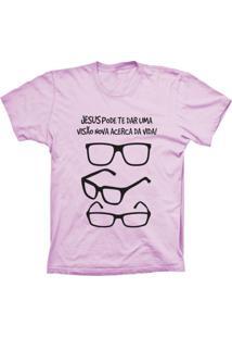 Camiseta Lu Geek Manga Curta Visão Da Vida Rosa