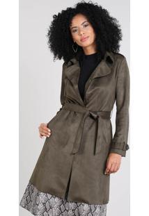 Casaco Trench Coat Feminino Em Suede Com Bolsos Verde Militar