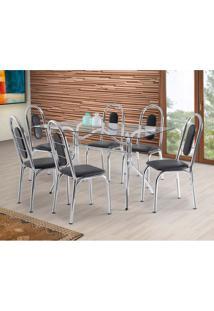 Conjunto De Mesa De Cozinha Com 6 Cadeiras Fusion Preto