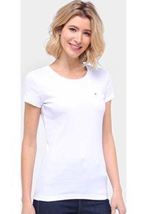 Camiseta Tommy Hilfiger New Fave Feminina - Feminino-Branco