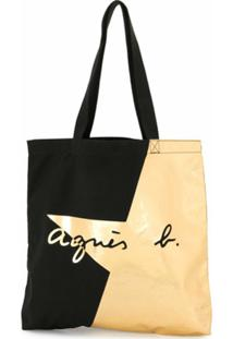 Agnès B. Bolsa Tote De Algodão Com Estampa De Estrela - Dourado