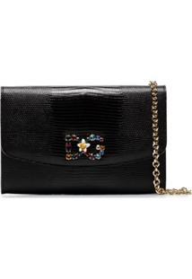 Dolce & Gabbana Bolsa Transversal Com Aplicações - Preto