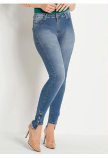 Calça Jeans Com Botões Nas Pernas Sawary