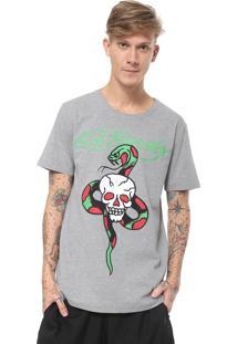 Camiseta Ed Hardy Skull & Snake Cinza