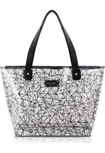 Bolsa Shopper Transparente Jacki Design Crystal Preto