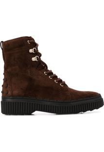 Tod'S Ankle Boot Com Cadarço - Marrom