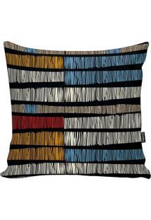 Capa Para Almofada African- Laranja & Azul- 45X45Cm
