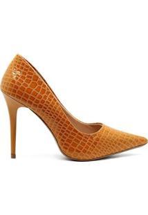 Scarpin Royalz Croco Verniz - Feminino-Amarelo