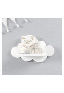 Prateleira Nuvem Branca Quarto Bebê Mdf P 30Cm Gráo De Gente Branco