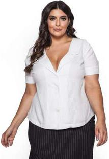 Blusa Almaria Plus Size Pianeta Listrado Off White Branco