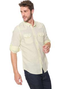 Camisa Linho Guess Reta Bolsos Amarela