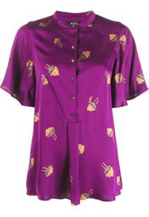 A.P.C. Blusa Estampada Com Botão - Roxo