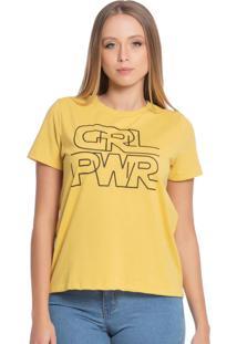 Blusa Feminina Com Escrita Amarelo